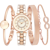 Anne Klein Swarovski Crystal Accented Rose Goldtone and Pink Bracelet Watch Set