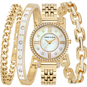 Anne Klein Women's Swarovski Crystal Accented Goldtone Watch and Bracelet Set