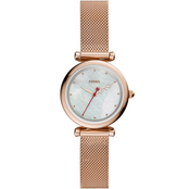 Fossil Women's Carlie Mini Three Hand Rose Gold Stainless Steel Watch ES4828