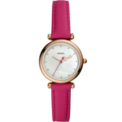 Fossil Women's Carlie Mini Three Hand Pink Leather Watch ES4827