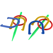 Hey! Play! 2 in 1 Outdoor Horseshoe and Ringtoss Combo Set