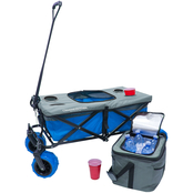 Creative Outdoor All Terrain Folding Wagon with Tabletop Cooler