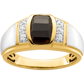 10K Two Tone Gold Onyx and 1/5 CTW Diamond Anniversary Ring