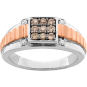10K Two Tone Rose and White Gold 1/2 CTW Brown and White Diamond Fashion Ring