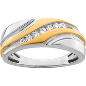10K Two Tone Gold 1/4 CTW Diamond Wedding Band