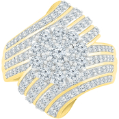 14K Yellow Gold Over Sterling Silver 2 CTW Diamond Fashion Ring