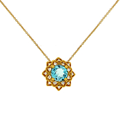 14K Gold Over Sterling Silver Swiss Blue Topaz and Created White Sapphire Pendant