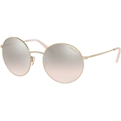 COACH Shiny Light Gold Flash Round Sunglasses