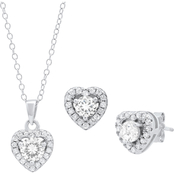 Sterling Silver Cubic Zirconia Heart Pendant and Earrings Set