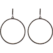 Panacea Hematite Round Post Hoop Earrings