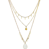 Panacea White Three Layered Charm Necklace