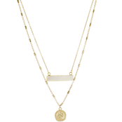 Panacea Mother of Pearl Bar and Coin Necklace