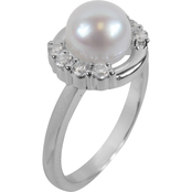 Blue Lagoon Akoya Pearl Ring in 14K White Gold with White Sapphire Diamond Accents