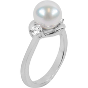 Blue Lagoon by Mikimoto Akoya Pearl with White Sapphire Diamond Accents Ring