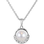Blue Lagoon by Mikimoto Akoya Pearl White Sapphire Diamond Accents 18 in. Pendant