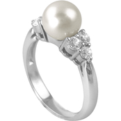 Blue Lagoon by Mikimoto Akoya Pearl White Sapphire Diamond Accents Ring
