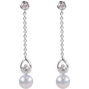 Blue Lagoon by Mikimoto Akoya Pearl White Sapphire Diamond Accent Earrings