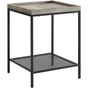 Walker Edison 18 in. Square Tray Side Table with Mesh Metal Shelf