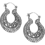 Robert Manse Designs Sterling Silver Bali Flat Hoop Earrings