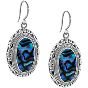 Robert Manse Designs Bali Sterling Silver Oval Abalone Drop Earrings