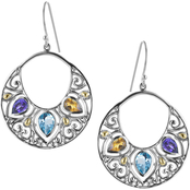 Robert Manse Designs Sterling Silver Multi Gemstone Earrings with 18K Gold Accents