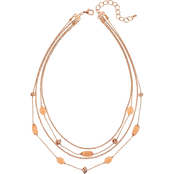 Carol Dauplaise Rose Goldtone Four Row Layered Short Necklace, 18 in.