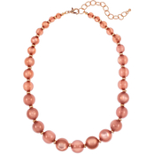 Carol Dauplaise Rose Goldtone Graduated Bead Short Necklace, 18 in.