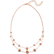 Carol Dauplaise Rose Goldtone Two Row Love Knot Station 18 in. Necklace