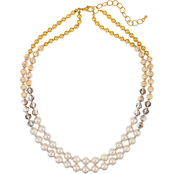 Carol Dauplaise Two Tone Two Row Graduated Necklace 34 in.