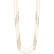 Carol Dauplaise Goldtone Three Row Stationed Bead Long Necklace, 18 in.