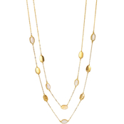 Carol Dauplaise Goldtone Two Row Station Link Long Necklace, 34 in.