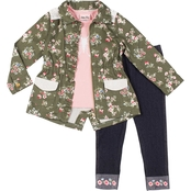 Little Lass Little Girls 3 pc. Butterfly Floral Jacket Set