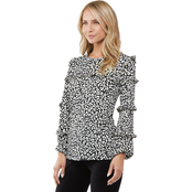 Michael Kors Flat Cat Print Ruffle Top