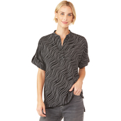 Michael Kors Wavy Chain Print Roll up Sleeve Top