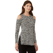 Michael Kors Flat Cat Print Cold Shoulder Top