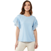 JW Lace Ruffle Sleeve Knit Top