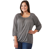 Michael Kors Plus Size Micro Check Peasant Top