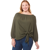 Michael Kors Plus Size Tie Front Smock Neck Top