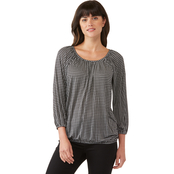 Michael Kors Micro Check Print Peasant Top