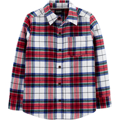 OshKosh B'gosh Boys Button Front Plaid Flannel Shirt Size 8