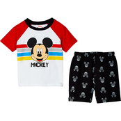 Disney Little Boys Mickey Mouse Shirt and Shorts 2 pc. Set