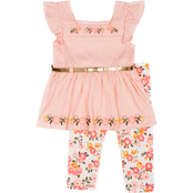 Little Lass Little Girls Knit Gauze Top and Capri Pants 2 pc. Set