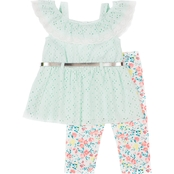 Little Lass Little Girls Lace Top and Printed Knit Capris 2 pc. Set