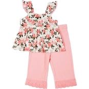 Little Lass Little Girls 2 pc. Floral Printed Coulette Set