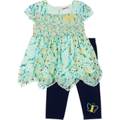 Little Lass Little Girls 2 pc. Butterfly Chiffon Floral Printed Capri Set