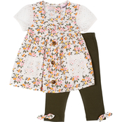 Little Lass Little Girls Floral Print Eyelet Challis Top and Capri Pants 2 pc. Set