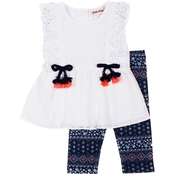 Little Lass Little Girls Eyelet Top and Printed Capris 2 pc. Set
