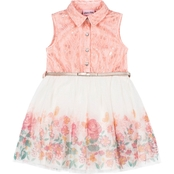 Little Lass Little Girls Bonded Lace and Floral Sparkle Tulle Dress