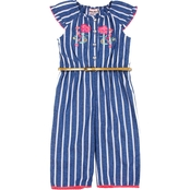 Little Lass Little Girls Striped Woven Jumpsuit