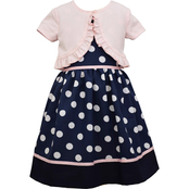 Bonnie Jean Polka Dot Poplin Dress with Faux Cardigan